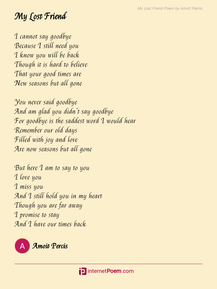 Goodbye a to to say friend poems 35 Best