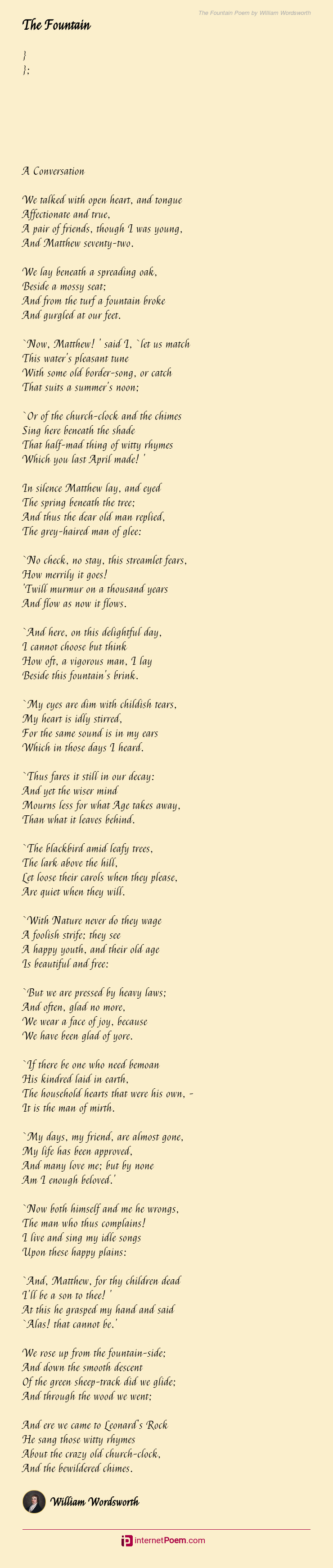 The Fountain Poem By William Wordsworth