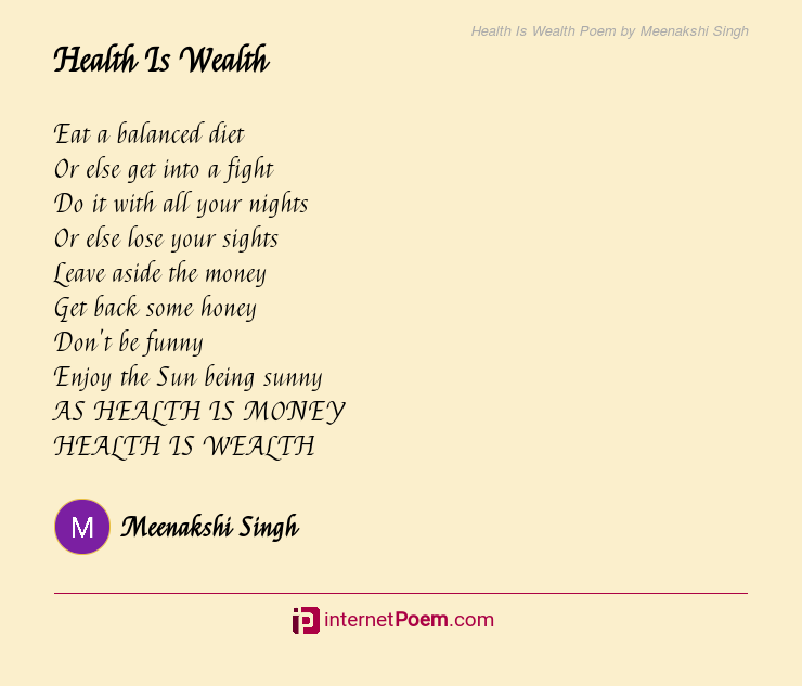 Health Is Wealth Poem By Meenakshi Singh
