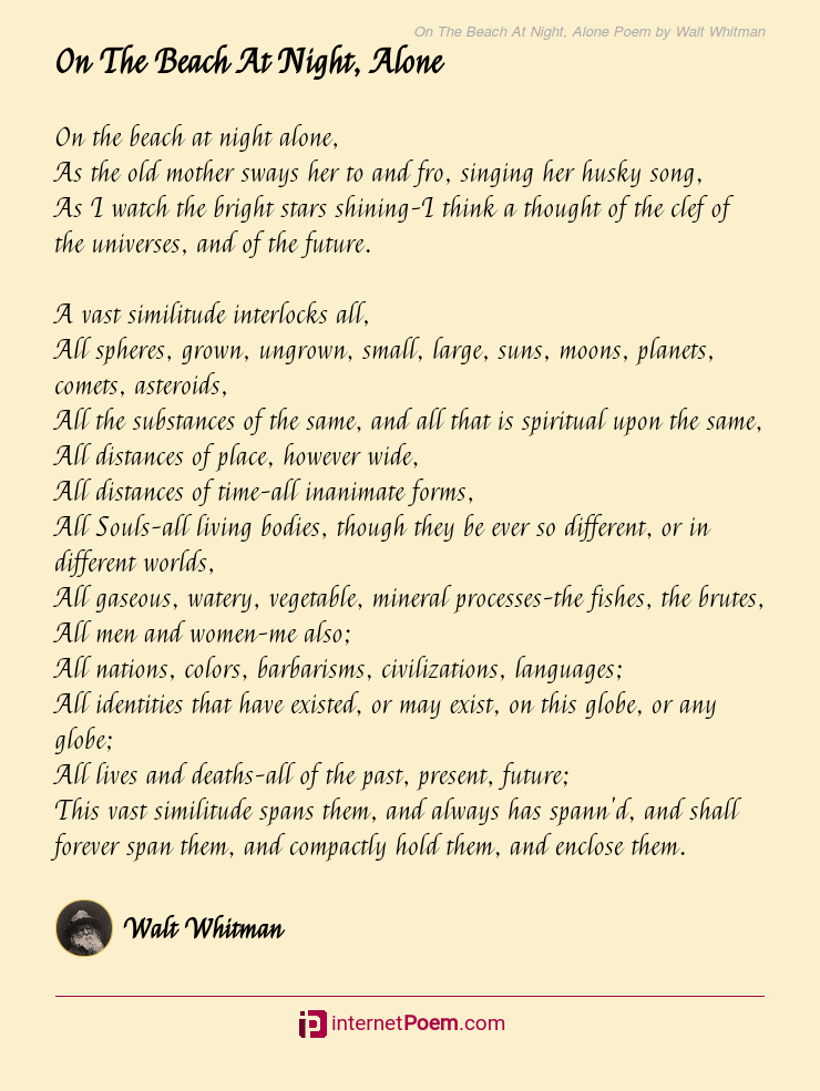 On The Beach At Night Alone Poem By Walt Whitman