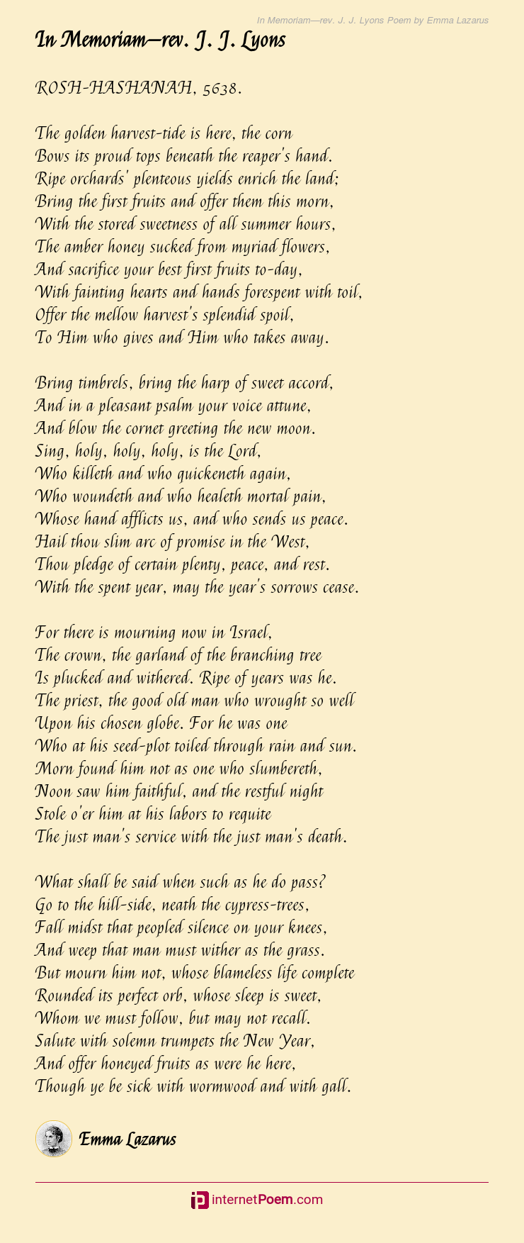 In Memoriamrev J J Lyons Poem By Emma Lazarus