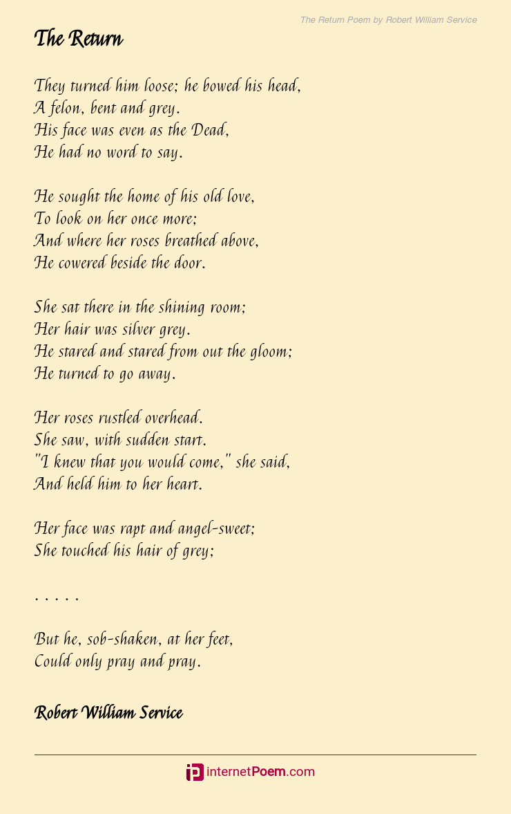 The Return Poem By Robert William Service