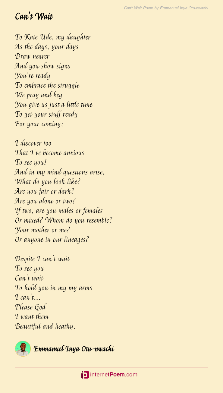 Can T Wait Poem By Emmanuel Inya Otu Nwachi