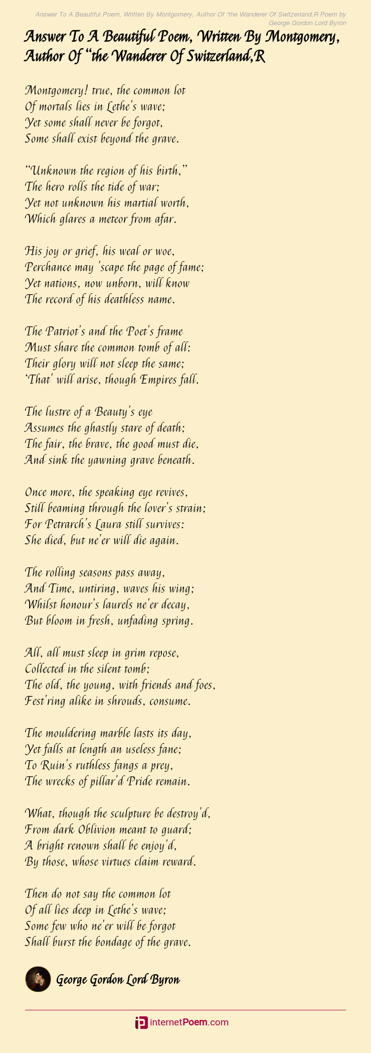 Answer To A Beautiful Poem Written By Montgomery Author Of