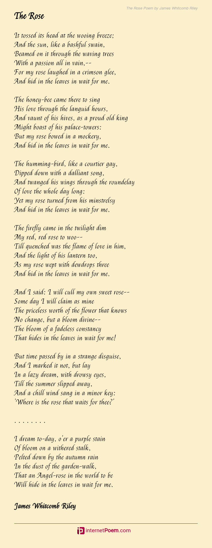 The Rose Poem By James Whitcomb Riley