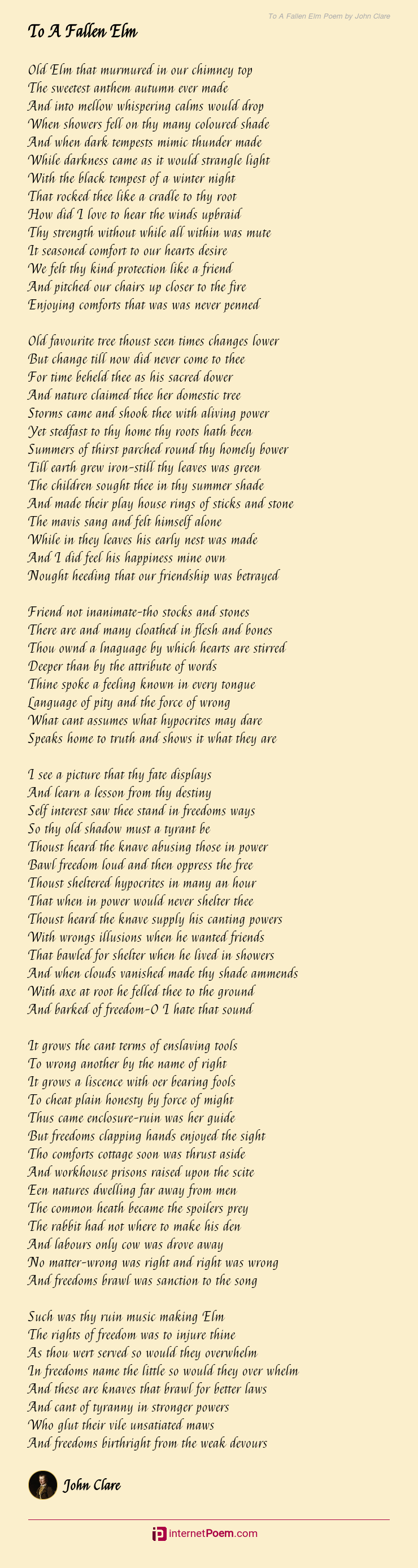 To A Fallen Elm Poem by John Clare