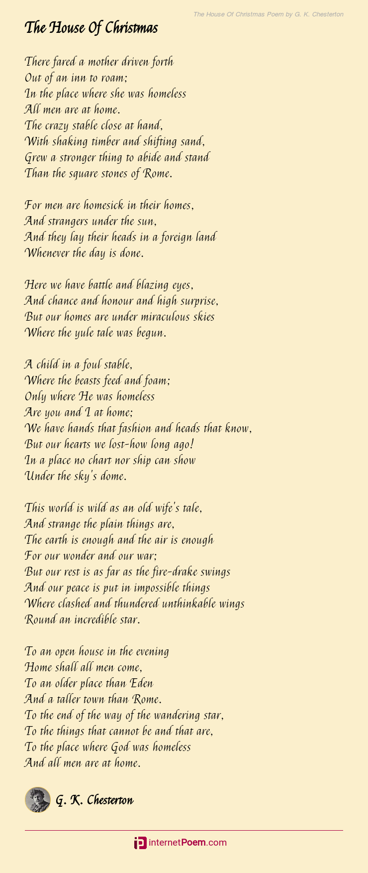 The House Of Christmas Poem By G K Chesterton