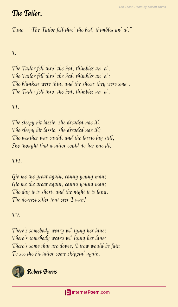 The Tailor Poem By Robert Burns