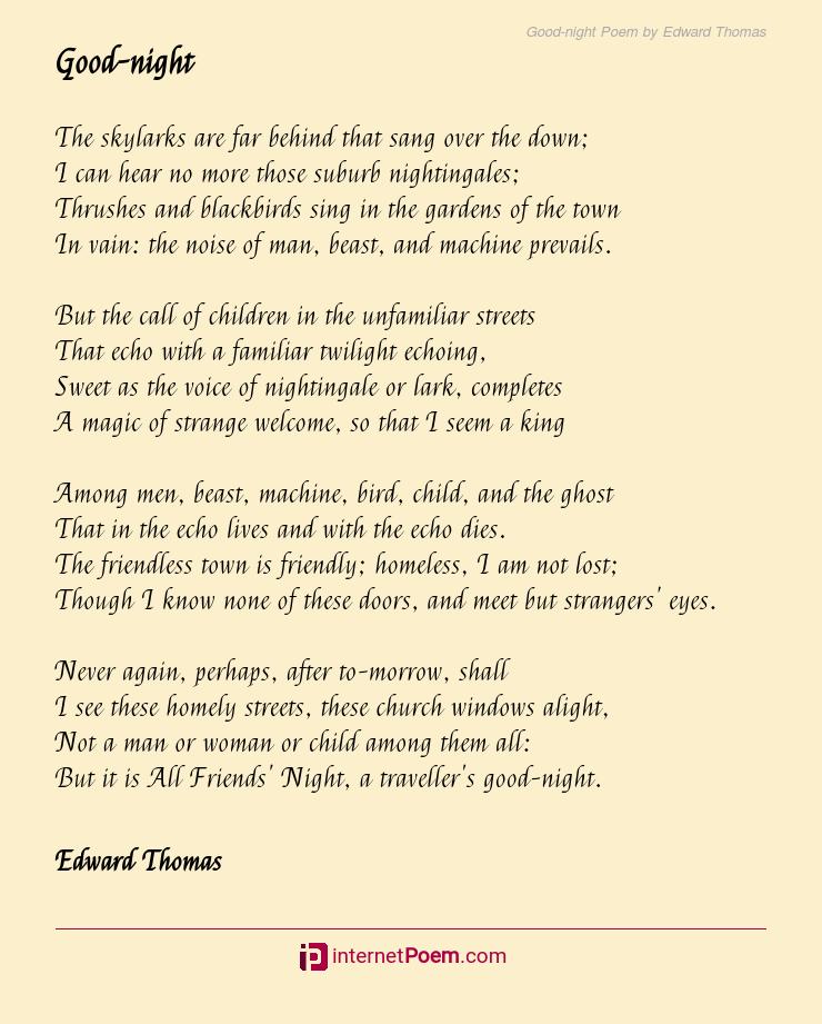 Good Night Poem By Edward Thomas