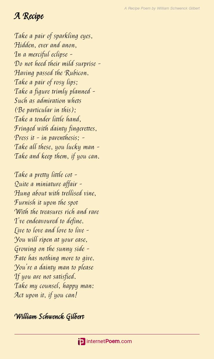 A Recipe Poem Rhyme Scheme
