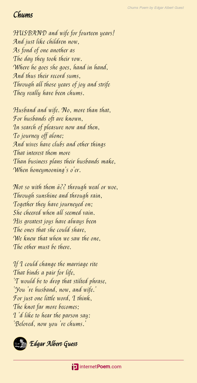 Chums Poem By Edgar Albert Guest