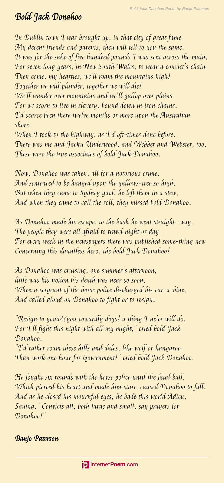 Bold Jack Donahoo Poem By Banjo Paterson