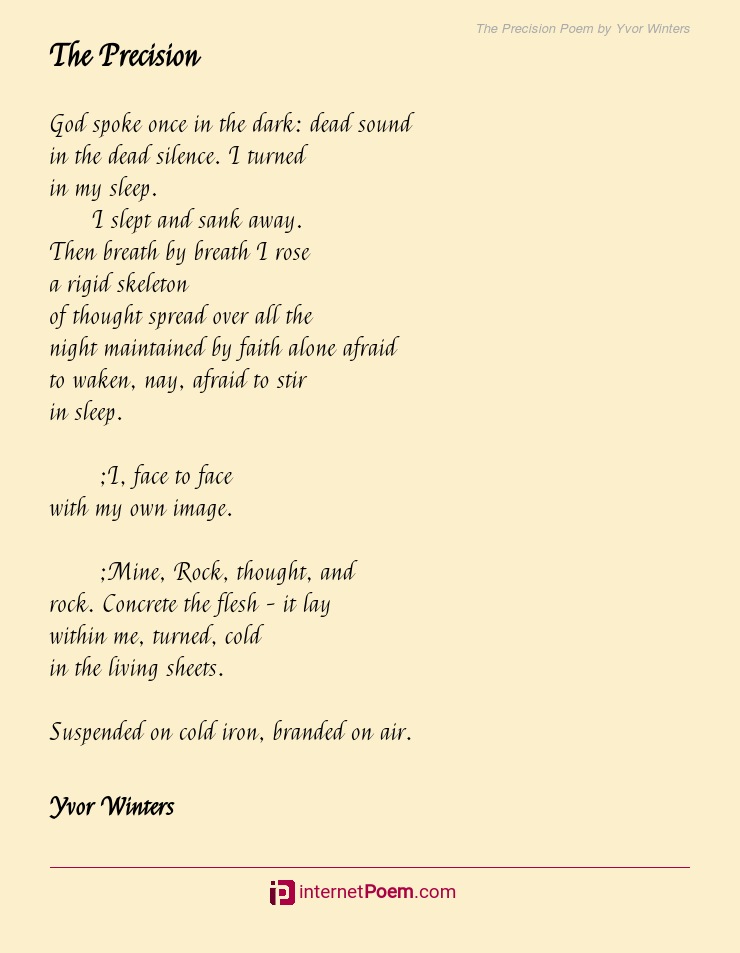 The Precision Poem By Yvor Winters