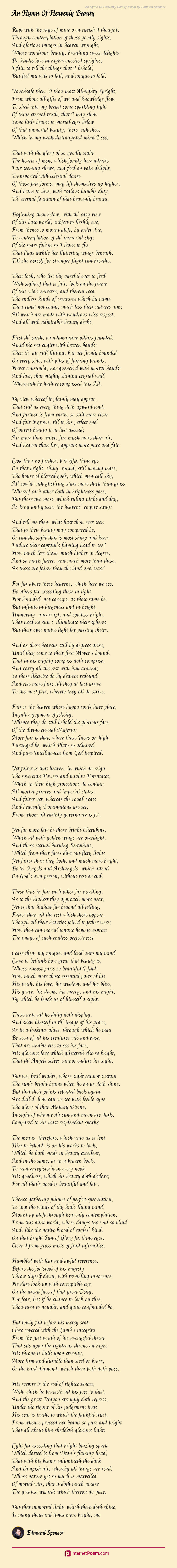 An Hymn Of Heavenly Beauty Poem By Edmund Spenser
