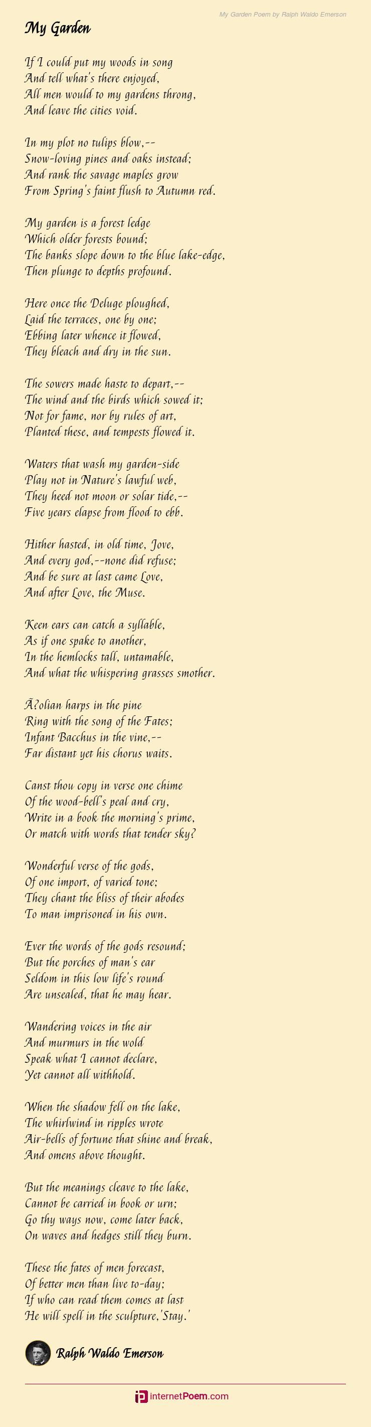 My Garden Poem By Ralph Waldo Emerson