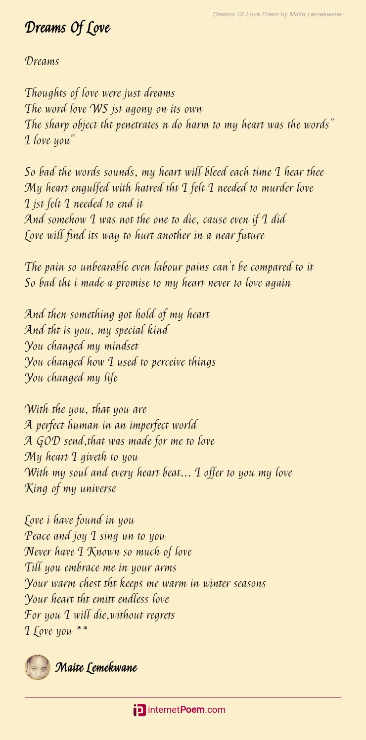 Dreams Of Love Poem by Maite Lemekwane
