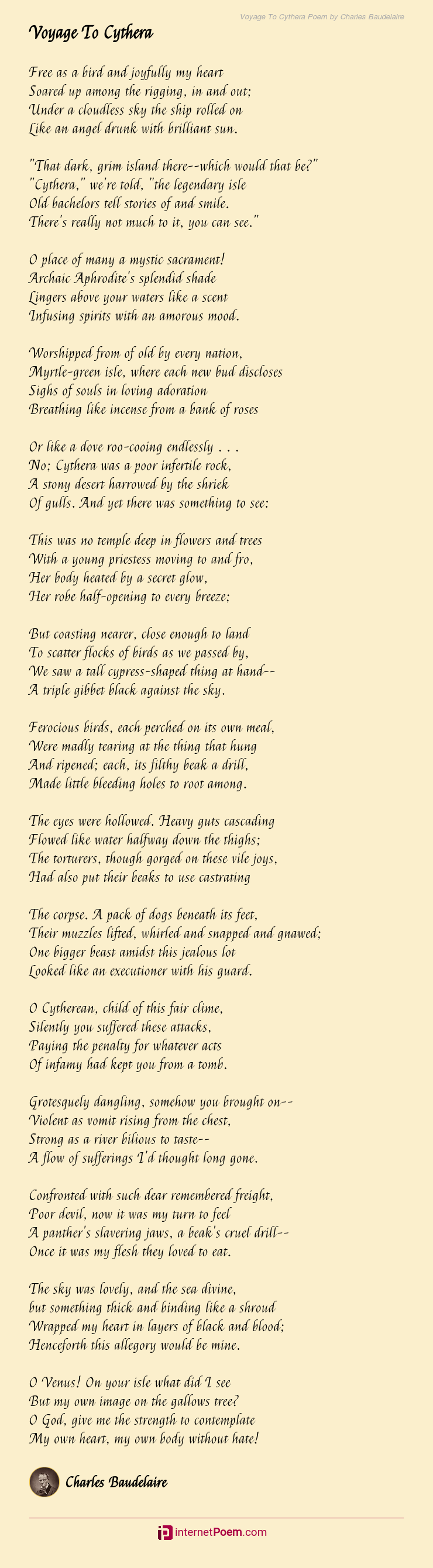 Voyage To Cythera Poem By Charles Baudelaire