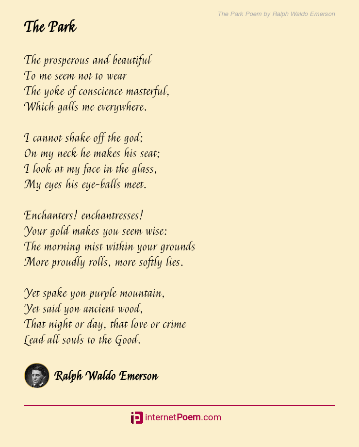 The Park Poem By Ralph Waldo Emerson