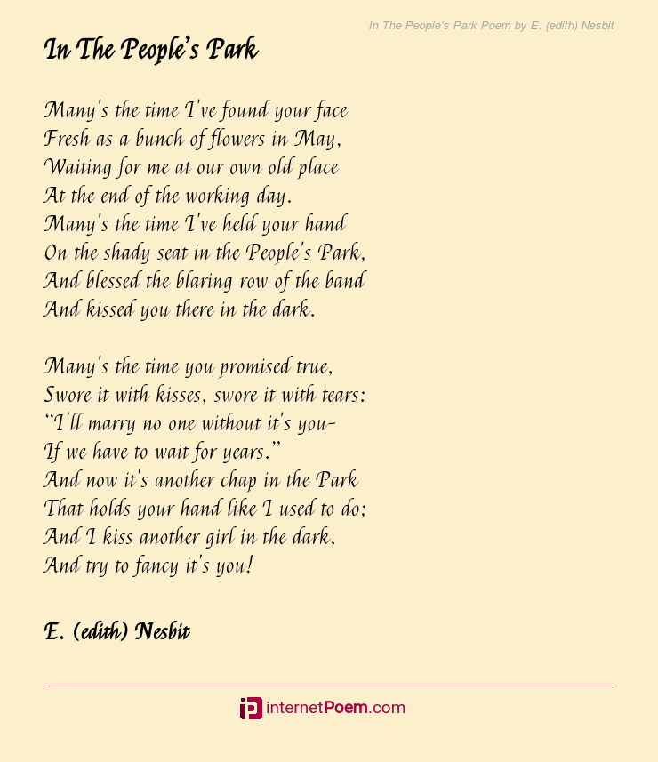 In The Peoples Park Poem By E Edith Nesbit