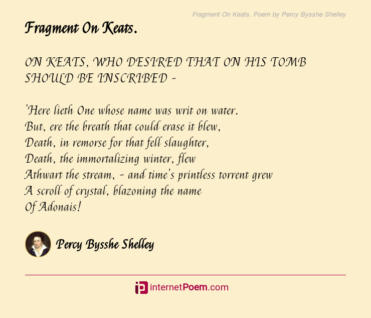 Fragment On Keats Poem By Percy Bysshe Shelley