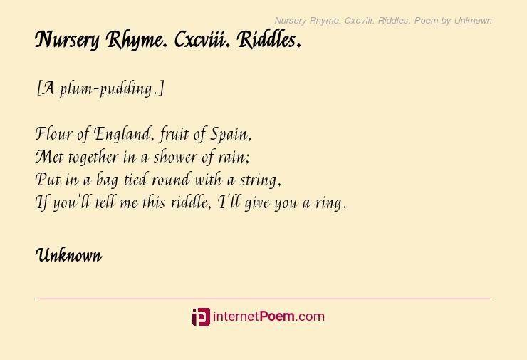 Nursery Rhyme Cxcviii Riddles Poem