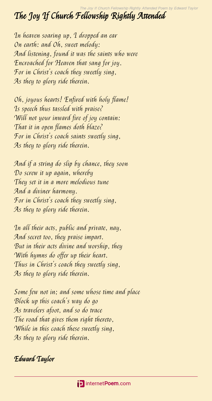 The Joy If Church Fellowship Rightly Attended Poem By