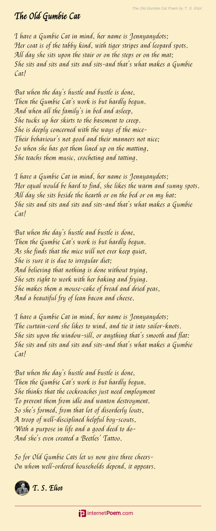 The Old Gumbie Cat Poem By
