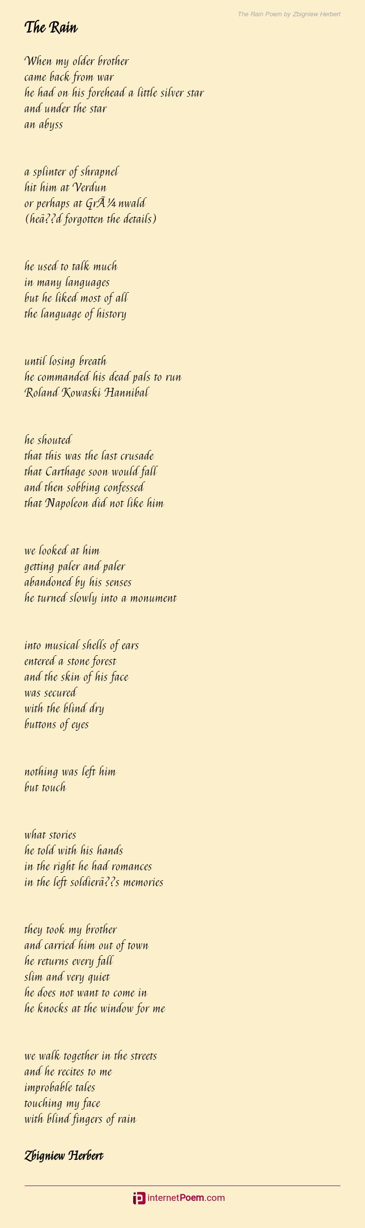 The Rain Poem By Zbigniew Herbert