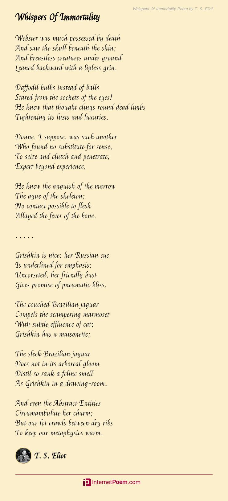Whispers Of Immortality Poem By T S Eliot