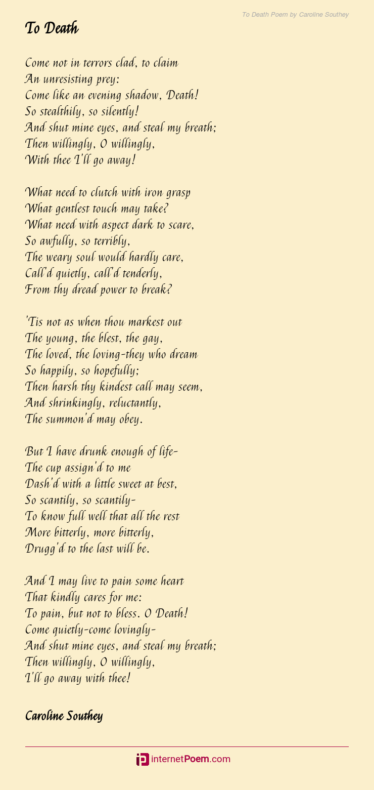 To Death Poem By Caroline Southey Also a range of related ideas, including views of death in wider society, fear of dying and what. to death poem by caroline southey