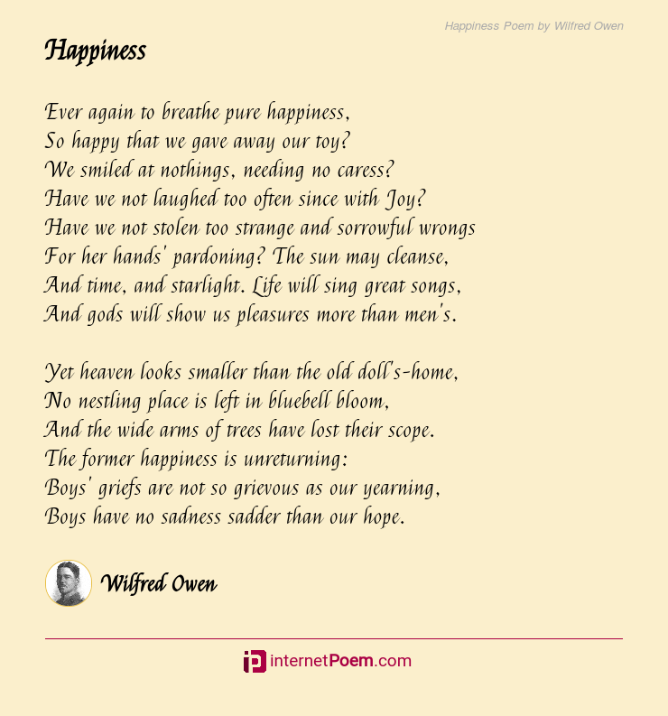 Happiness Poem By Wilfred Owen