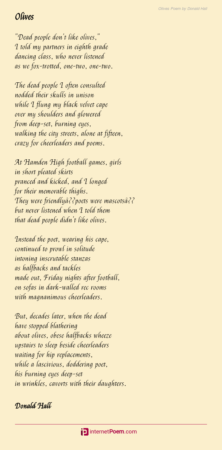 Olives Poem By Donald Hall