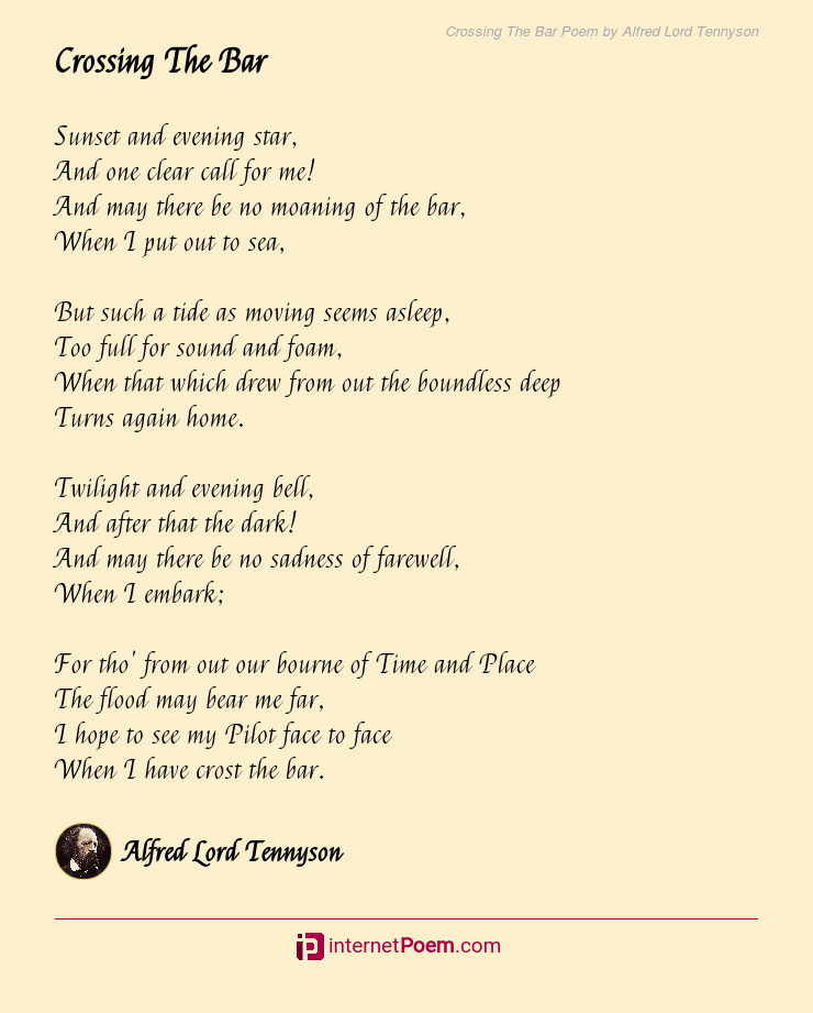 Crossing The Bar Poem By Alfred Lord Tennyson