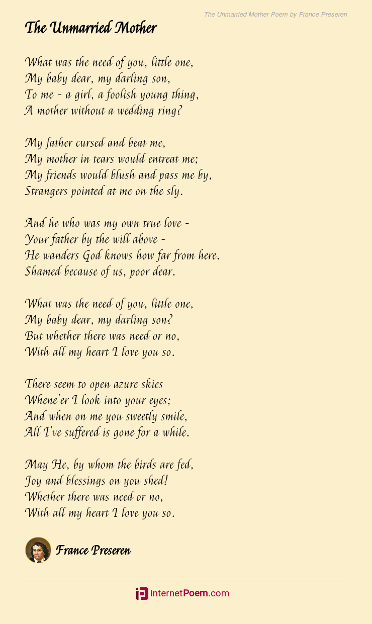 The Unmarried Mother Poem by France Preseren