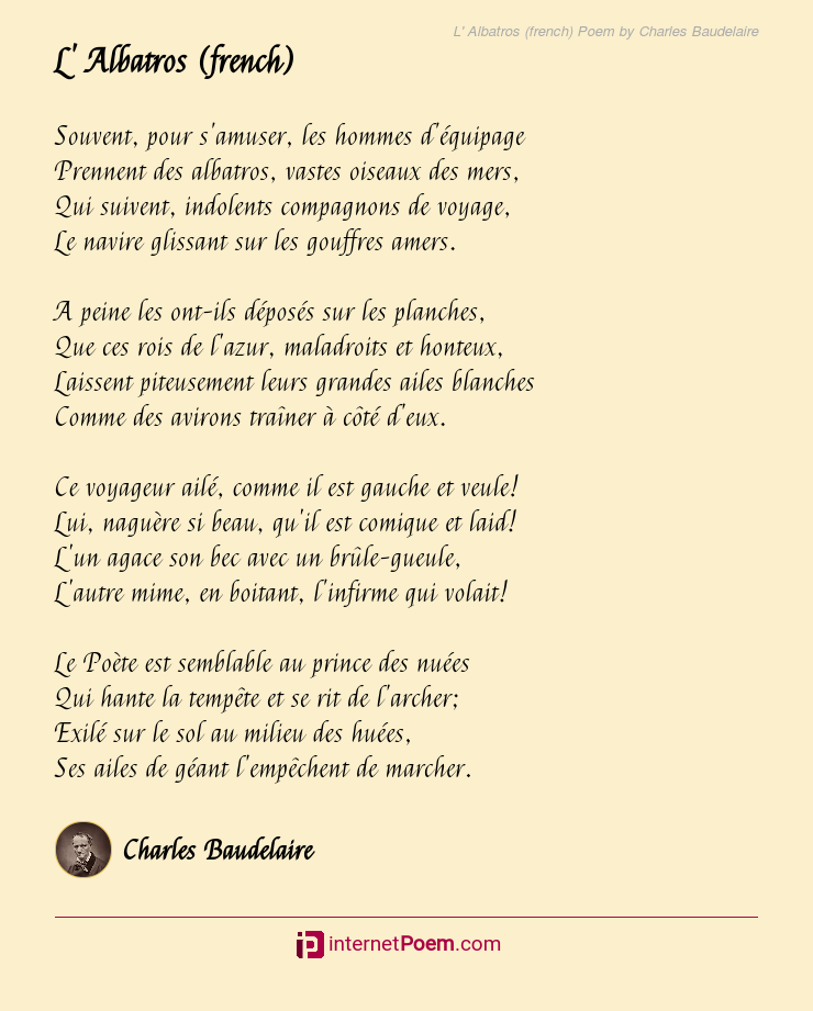 L Albatros French Poem By Charles Baudelaire
