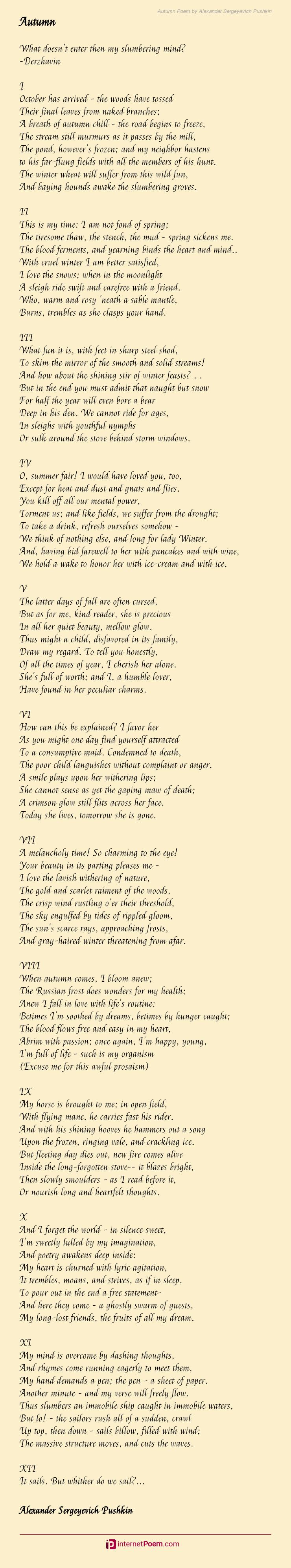 Autumn Poem By Alexander Sergeyevich Pushkin