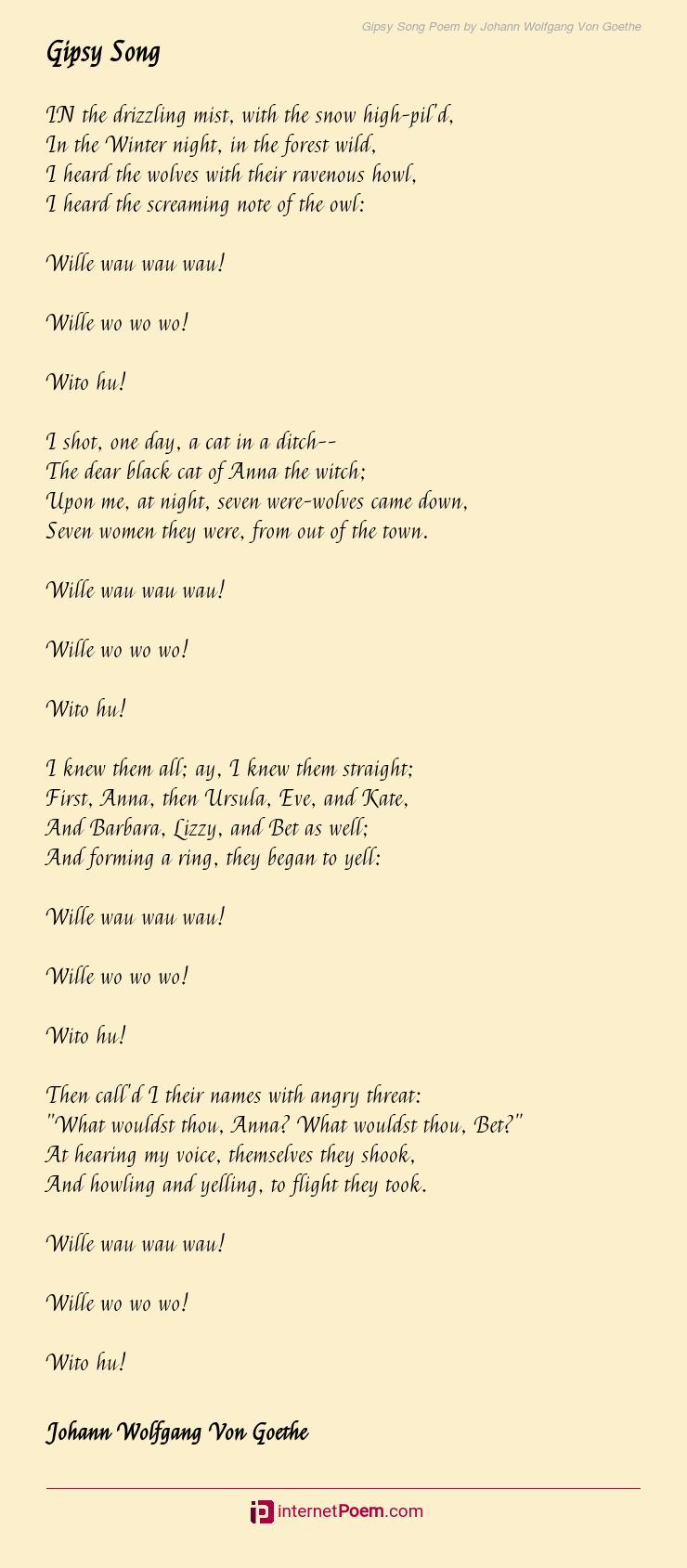 Gipsy Song Poem By Johann Wolfgang Von Goethe