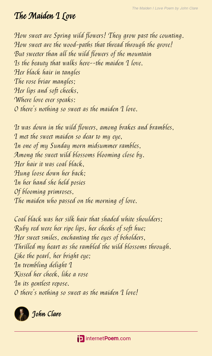 The Maiden I Love Poem By John Clare