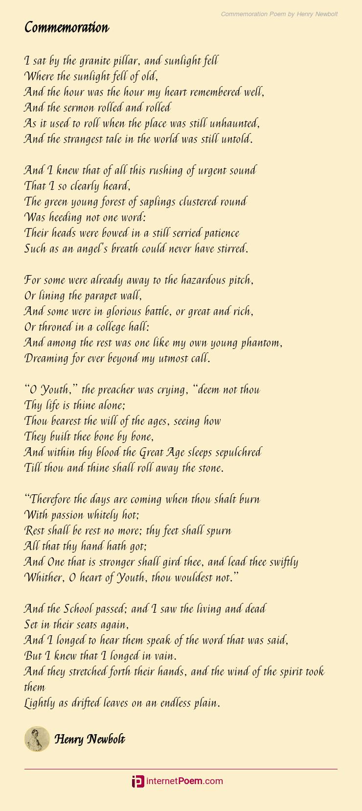 Commemoration Poem By Henry Newbolt