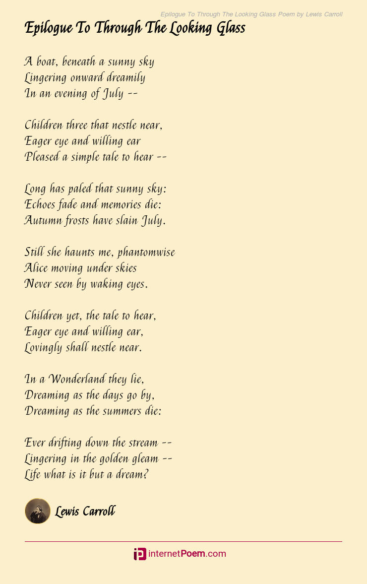 Epilogue To Through The Looking Glass Poem By Lewis Carroll