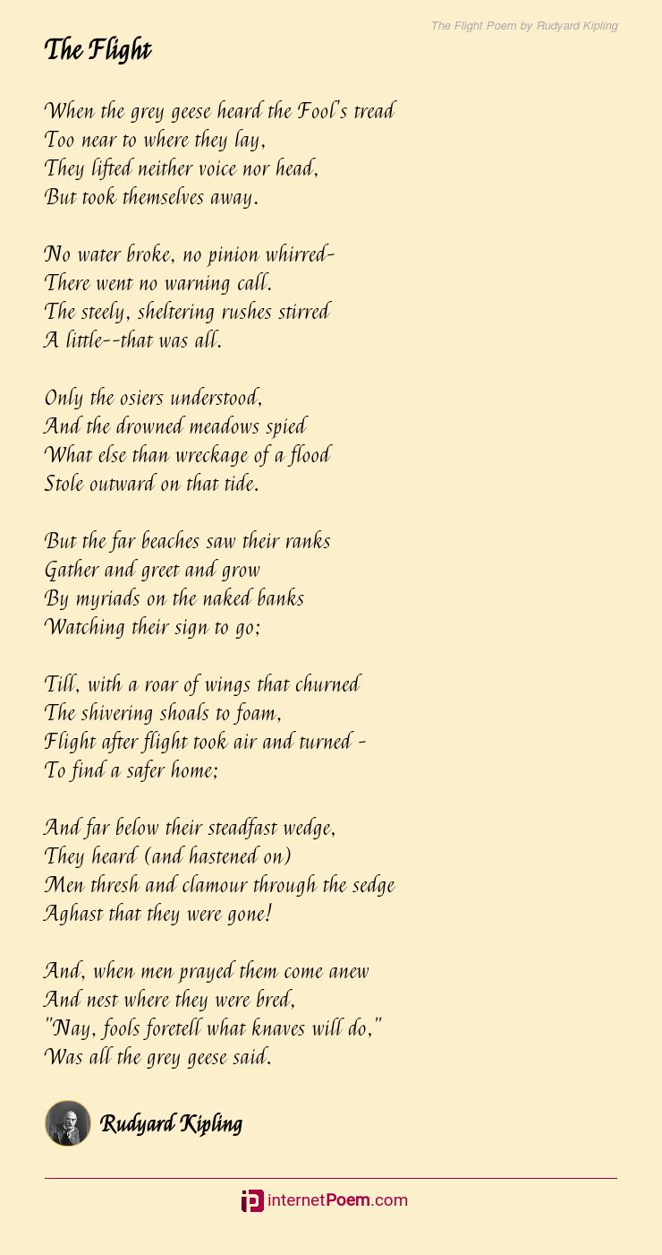 The Flight Poem By Rudyard Kipling