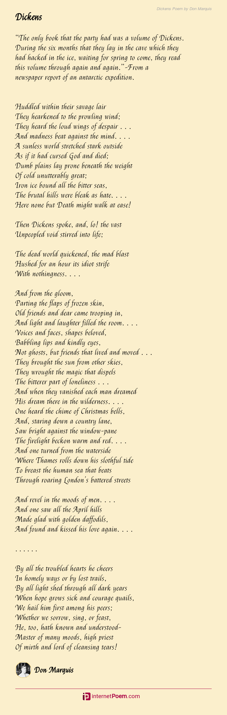 Dickens Poem By Don Marquis