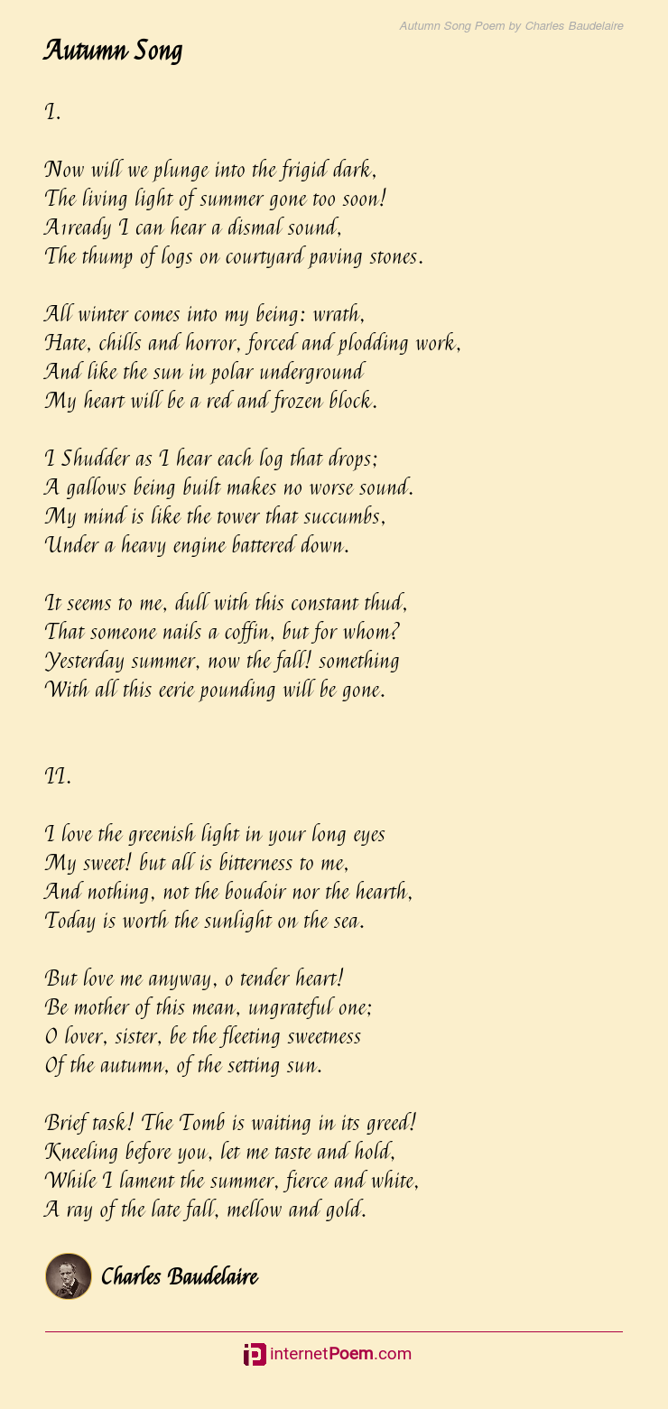 Autumn Song Poem By Charles Baudelaire