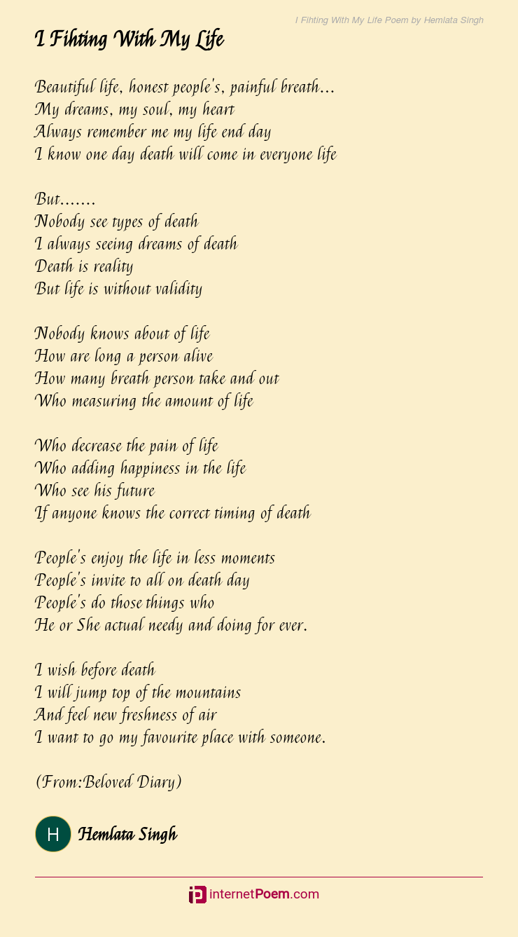 """Life this poem my is """"This is"""