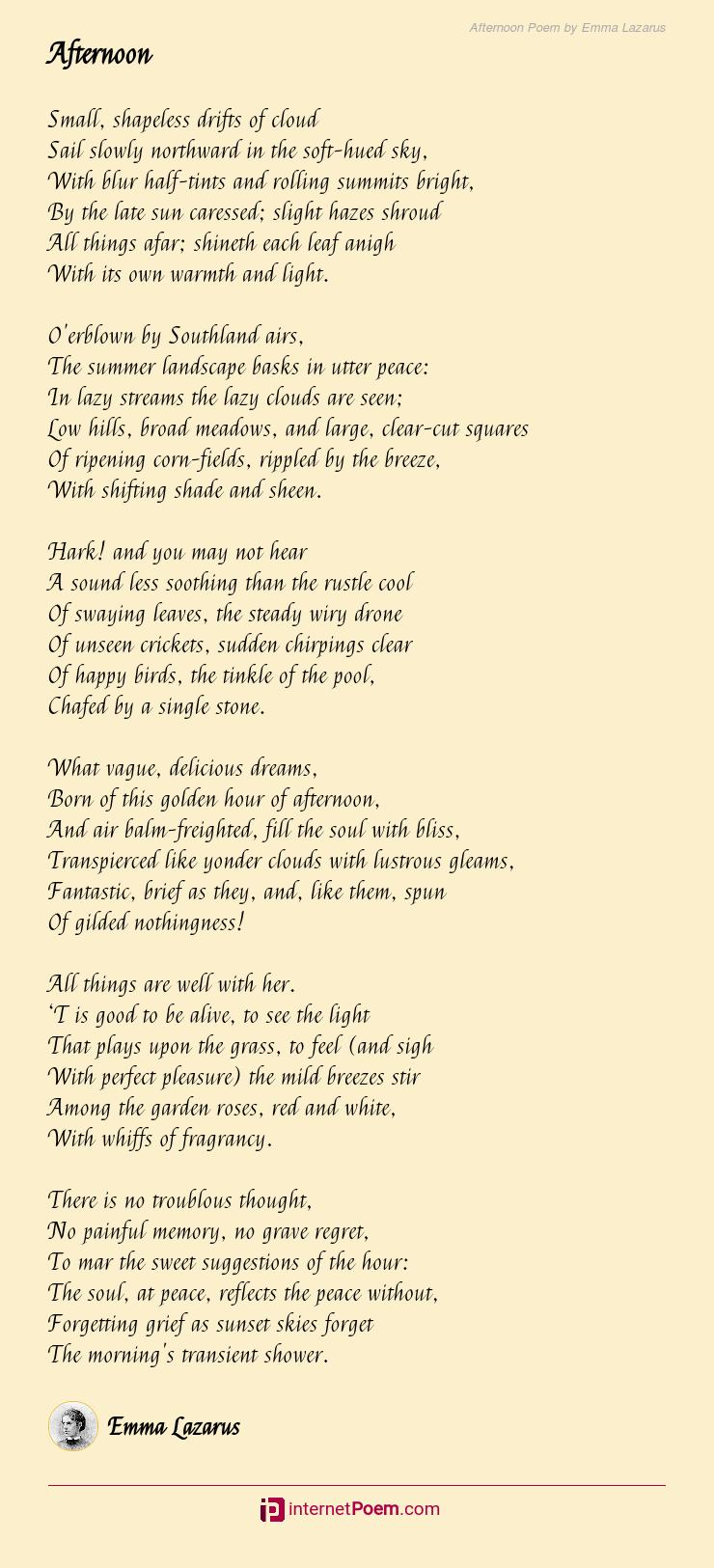 Afternoon Poem By Emma Lazarus