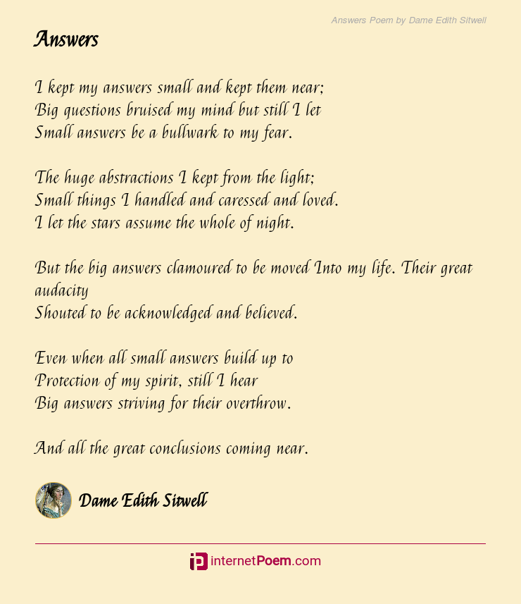 Answers Poem by Dame Edith Sitwell