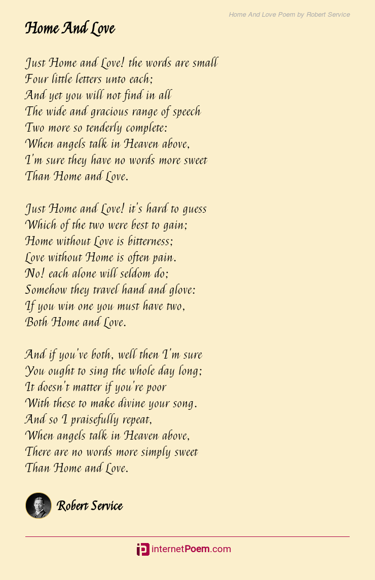 Home And Love Poem By Robert Service