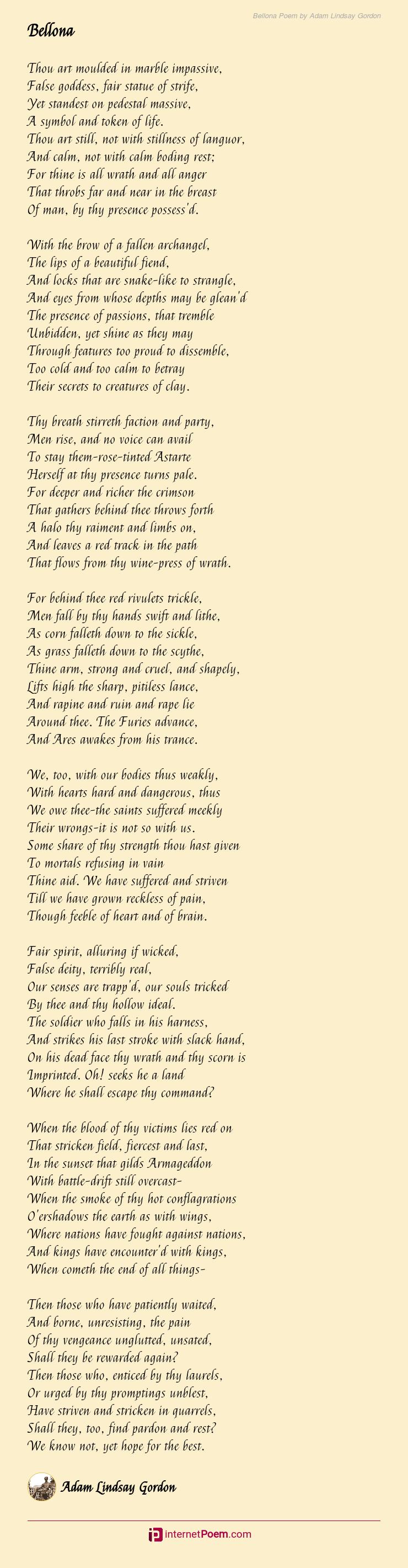 Bellona Poem By Adam Lindsay Gordon