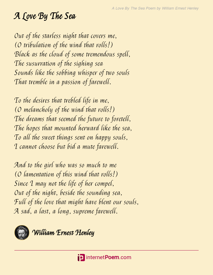 A Love By The Sea Poem By William Ernest Henley