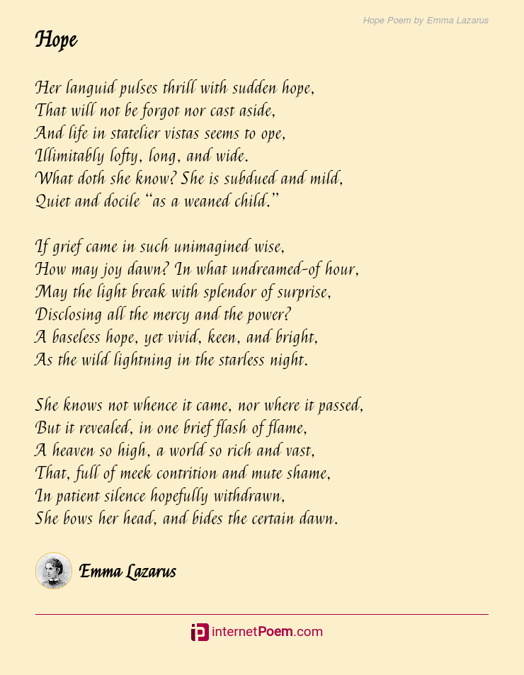 Hope Poem By Emma Lazarus